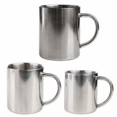 220ml Stainless Steel Double Wall Mug Outdoor Camping Cup Carabiner Hook AU