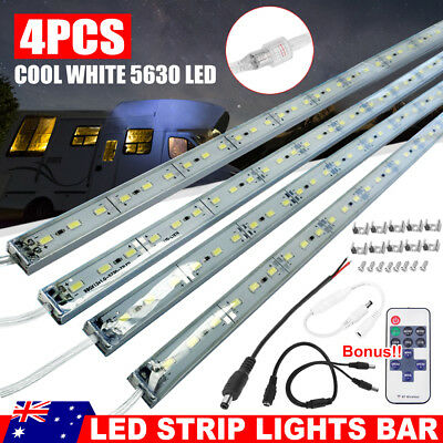 4X12V 5630 Led Strip Lights Bars Waterproof Cool White Camping Boat Car + Remote