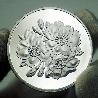 Japan National Flower Cherry Blossoms Goddess Japanese Culture Silver Coin