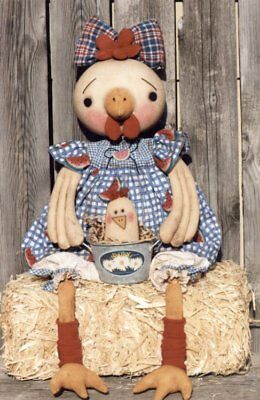 """*New* Cloth Folk Art Doll (Paper) Pattern """"Chelsea Chicken"""" By Ginny Lettorale"""