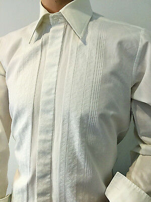 """White Embroidered Shirt Formal Evening Festive Party 70's Retro 40"""" X 15"""" Small"""