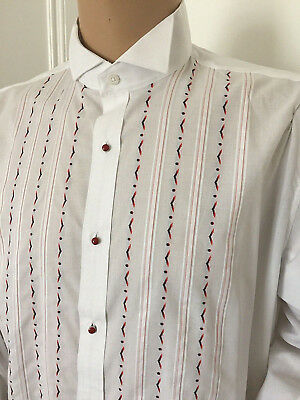"""White Embroidered Wing Collar Dress Shirt Rocola New Festive Formal 50"""" X17"""" 2Xl"""
