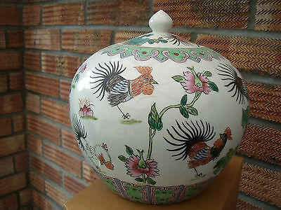 Large Chinese or Japanese Jar Vase Pot with Cockerels, Roosters, Hens & Flowers.