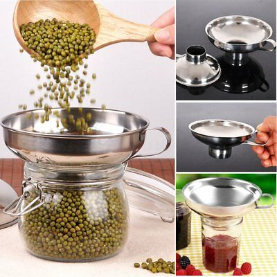 Stainless Steel Wide Mouth Liquid Funnel Detachable Strainer Filter AU