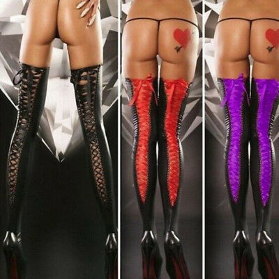 Women Fashion Leather Stockings Plus Size Sexy Lace Soft Thigh-high Long Socks