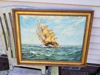 Oil Painting Ship Sailboat Original Signed Painting George Ebbrecht 1945