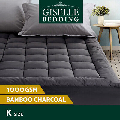 Giselle Bedding Bamboo Charcoal Pillowtop Mattress Topper Protector Cover King