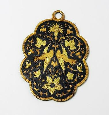 TOLEDO SPAIN Vintage GOLD INLAID STEEL PENDANT