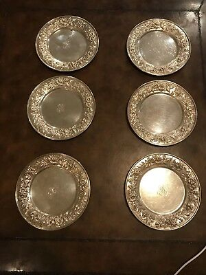 """S Kirk & Son Repousse 127F Set Of 6 Sterling Silver Bread And Butter Plates """"MP"""""""