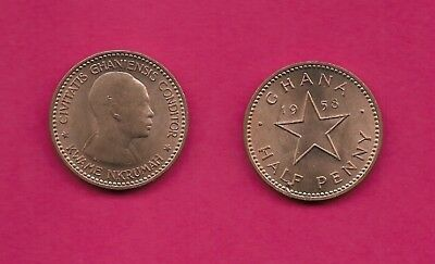Ghana Rep Half Penny 1958 Unc Dr.kwame Nkrumah Head Left,date Divided By Star,de
