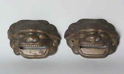 Fine Bronze Shishi shaped Handles , Edo-Meji period , 19 th c S52