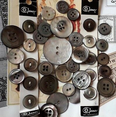 Vintage large lot of grey Mother of pearl Buttons some carded