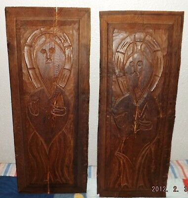 2 Antique 16th 17th Century Russian Orthodox Icon ESTATE Hand Carved Iron Wood