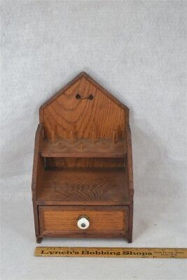 sewing box case wood spool holders drawer hand made folky antique original 1800
