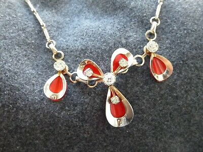 UNUSUAL VINTAGE MODERNIST CHROME NECKLACE Red flowers with clear stones