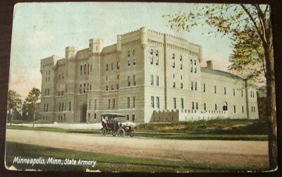 Minneapolis Minnesota c1907 State Armory,  vintage car