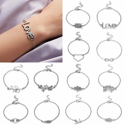 Fashion Silver Stainless Steel Charm Heart Love Adjustable Chain Bracelet Bangle