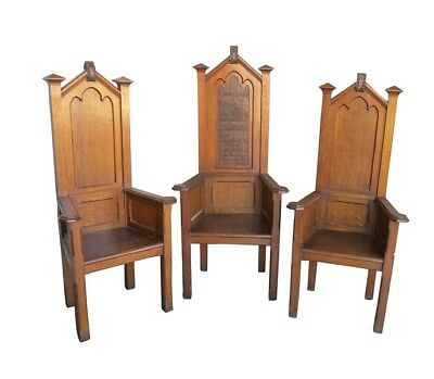 Antique Solid Oak Carved Altar Chairs - Church Chapel
