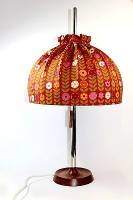!!! big table lamp with fabric shade TEMDE chrome and teak vintage German !!!