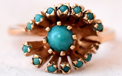 Antique Victorian 9K Solid Gold and Natural Turquoise Ring Size 5.5