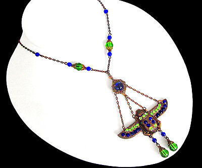 1930s Czech Art Deco Egyptian Revival Beetle Necklace -Cobalt Blue & Green Glass