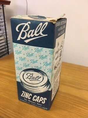 11 NOS Ball Mason Jar ZINC LIDS Set Canning Caps Dozen Regular Porcelain Lined