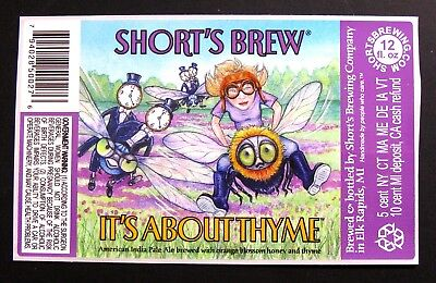 Short's Brewing IT'S ABOUT THYME beer label MI 12oz STICKER
