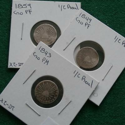 Mexico 1/2 Real Silver Lot of 3 coins Caps & rays 1843 49 & 1853 Go