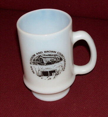 Bean Blossom & Brown County Covered Bridges Indiana MUG CUP Coffee Milk Glass