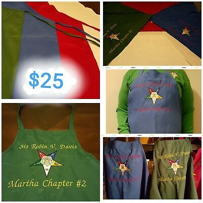 Order of the Eastern Star Customized Embroidered Apron W/ Chapter and Name