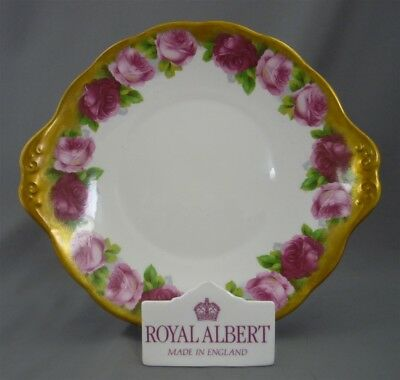 Royal Albert England HEAVY GOLD FROST Old English Rose Handled Cake Plate