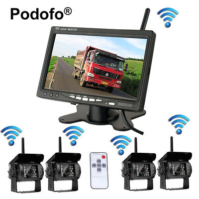 "Wireless Car 12-24V IR Rear View Back up Camera System + 7"" Monitor For RV Truck"