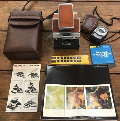 Beautiful Film polaroid sx-70 land camera W  Case And Manuals Leather  Stainless 941c56de04a