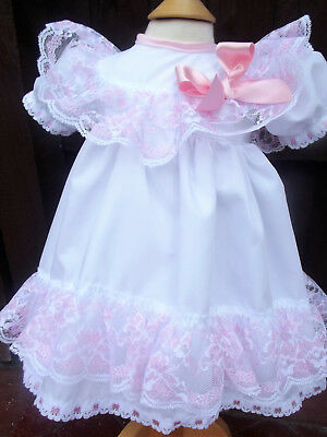 DREAM last 1   0-3  MONTHS WHITE EMBROIDERED PINK LACE LINED DRESS OR REBORN