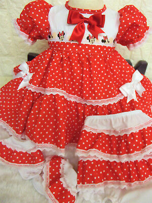 DREAM 0-2 years  baby MINNIE MOUSE NETTED DRESS KNICKERS SOCKS  OR REBORN DOLLS