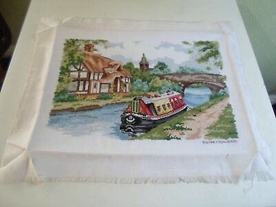 Fab Finely Worked Completed Tapestry BARGE - CANAL - RIVER BOAT +COTTAGE+BRIDGE