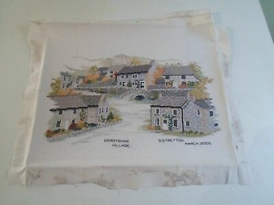 Fab Finely Worked Completed Tapestry DERBYSHIRE VILLAGE - Rustic Scene