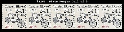 US #2266 MNH PNC5 Pl #1 Tandem Bicycle precancel