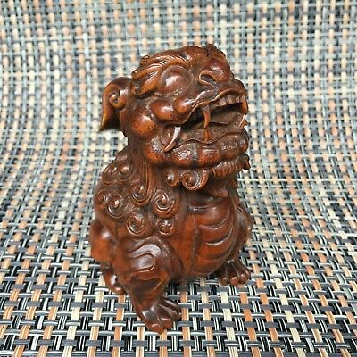Antique Old Collectible Boxwood Handwork Town House Lion Japanese Netsuke Statue