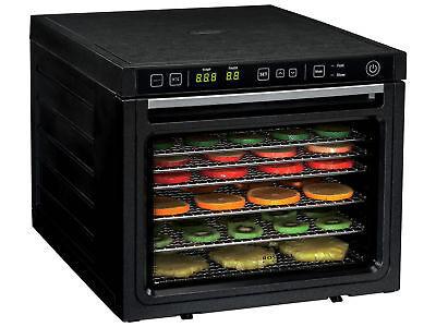 Professional Food Dehydrator 6-Tray Stainless Steel 2 Fans 12L Black Fruit Jerky