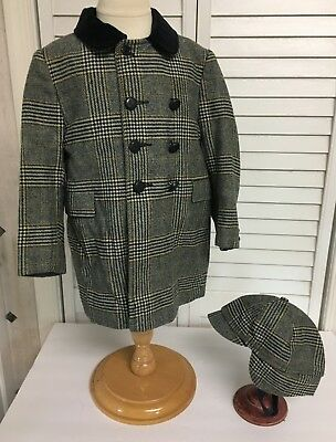 Vintage Boys Tweed Wool Lined Coat Jacket With Matching Hat Cap