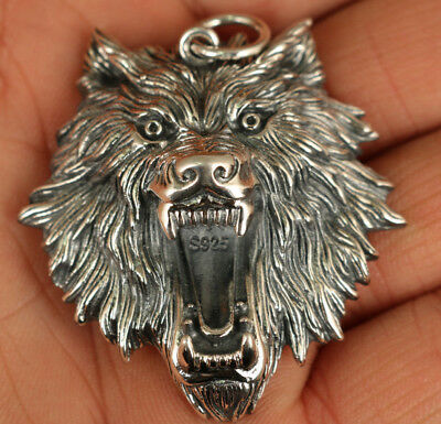 Unique Chinese Fine 925 Silver Old Hand Carved fierce Wolf Head Statue Pendant