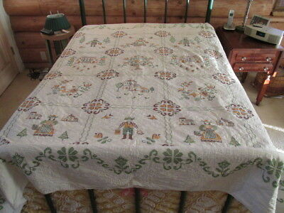 """Vtg Quilt Cross Stitch Completed Hand Quilted Full Size 80x88"""" some Damage   Stp"""