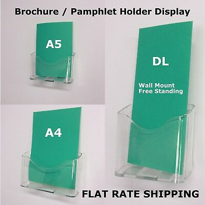 DL A5 A4 Wall Mount Table Top Brochure / Pamphlet Holder Display Free Standing