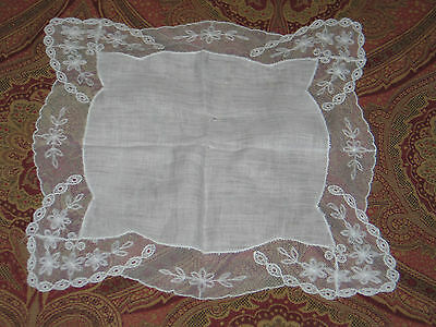 Elegant VTG Antique NeedleRun Embroidery Net Lace Handkerchief Hanky~Bridal~