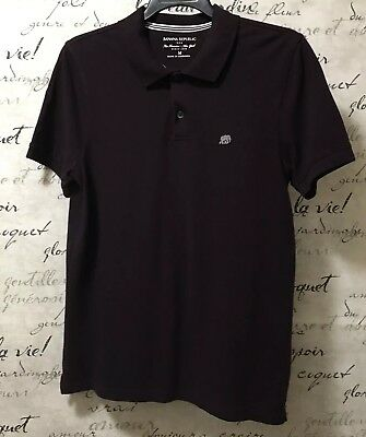 Banana Republic Mens Dark Deep Purple Short Sleeve Polo Shirt Medium New