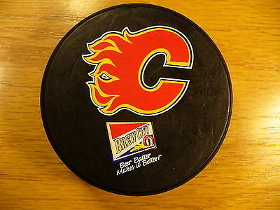 NHL Calgary Flames Brew City Ad Logo Souvenir Official Hockey Puck Collect Pucks