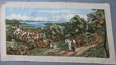 Completed wool TAPESTRY Rural European Scene TOWN, RIVER, HORSE & CART 37.5 x 78