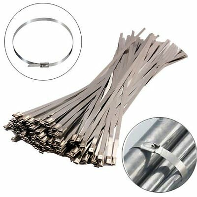 100pcs 300x4.6mm Stainless Steel Header Wrap Straps Self Locking Cable Zip Tie