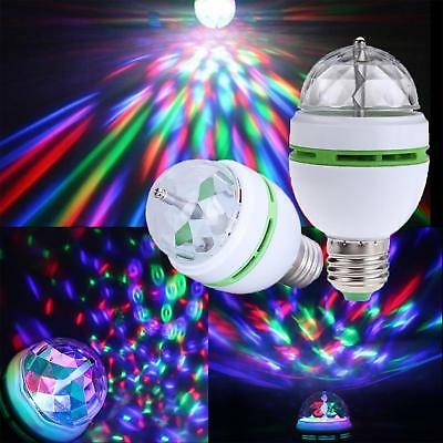 RGB LED Crystal Ball Rotating Stage Light Bulbs E27 3W Disco Party Xmas Lamp UK